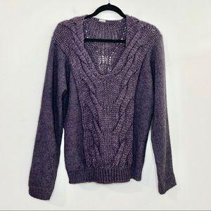 MATTA NY Purple Alpaca Chunky Knit V-Neck Sweater